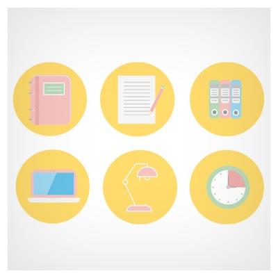 مجموعه 6 آیکون لایه باز با طرح اداری ، مطالعه و ... با فرمت های eps و ai