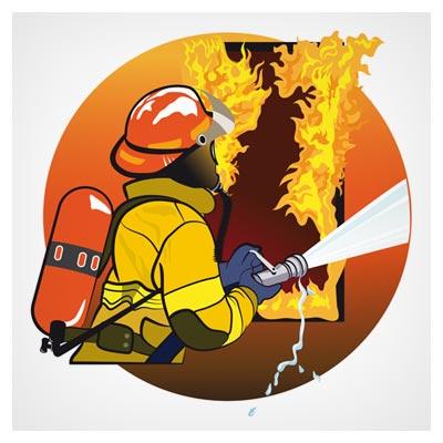 طرح لایه باز آتش نشان در حال خاموش کردن آتش (اطفاء حریق) با فرمت های وکتور