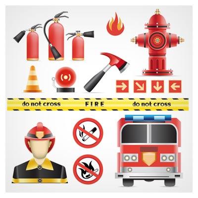 وکتور مجموعه علائم و المان های آتش نشانی و اطفاء حریق بصورت لایه باز
