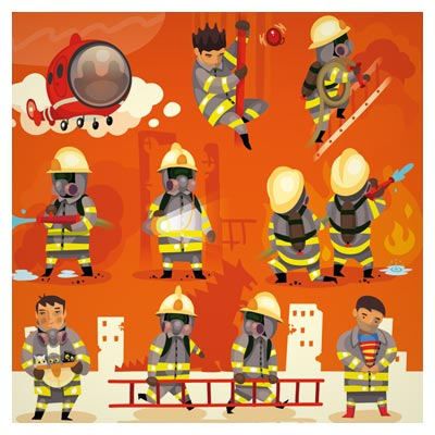 طرح کارتونی مجموعه کاراکترهای کارتونی با موضوع آتش نشان ها در حال اطفاء حریق