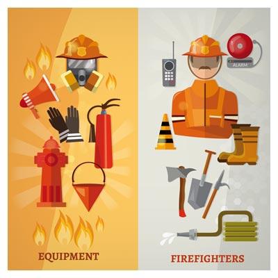 وکتور مجموعه ابزار و ادوات آتش نشانی بصورت لایه باز