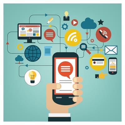 بنر لایه باز وکتوری با موضوع تلفن همراه (موبایل) و راه های ارتباطی