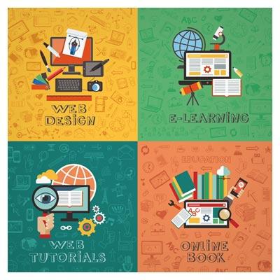 مجموعه 4 بنر لایه باز (وکتور) با طرح های e-learning ، web design ، web tutorials و online book