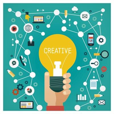 طرح بنر لایه باز فلت با موضوع مارکتینگ ، خلاقیت و روش های مختلف ایجاد خلاقیت (Digital Marketing Clip Art)