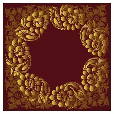 وکتور قاب و فریم دوار با طرح گل های زیبای فلورال (Vector Vintage Floral Ornamental Frame)