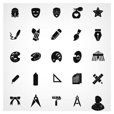 مجموعه آیکون های تکرنگ با موضوع هنر ، نقاشی و طراحی با دو فرمت لایه باز AI و EPS