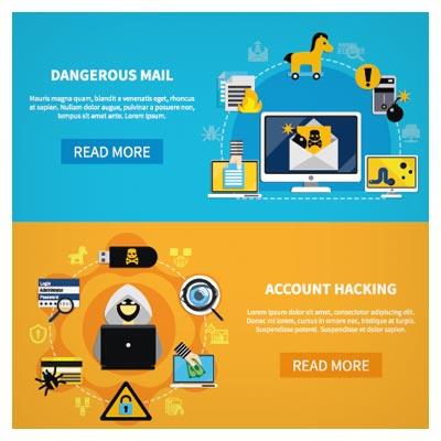 دانلود بنر لایه باز فلت (Flat) با موضوع هک اکانت و خطرات دسترسی به اکانت های ایمیل