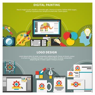 بنر گرافیکی لایه باز با موضوع طراحی دیجیتال و طراحی لوگو با سبک طراحی Flat