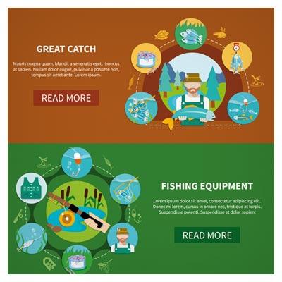 وکتور لایه باز بنر با موضوع ماهیگیری و لوازم ماهیگیری ، ارائه شده با فرمتهای eps و ai