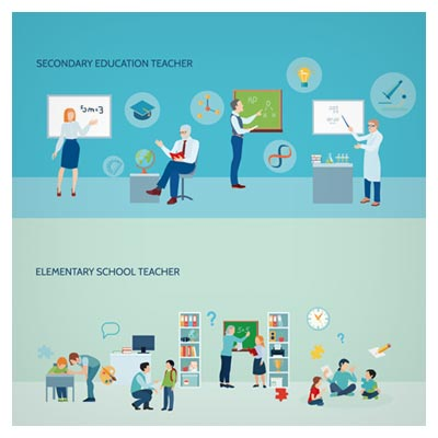 وکتور لایه باز با طرح تحصیلات دبستانی و راهنمایی (با المان های تحصیلی)