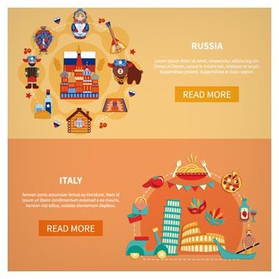 بنر لایه باز وکتور با طرح و المان های کشور ایتالیا و روسیه