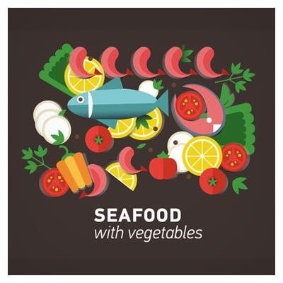 طرح لایه باز فلت (Flat) با موضوع سبزیجات و غذاهای دریایی