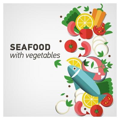 دانلود بنر لایه باز وکتوری با طرح سبزیجات و غذاهای دریایی (ماهی) با دو پسوند eps و ai