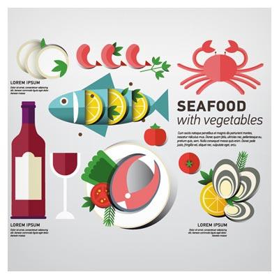 طرح فلت لایه باز بنر با موضوع و المان های غذاهای دریایی (eps و ai)