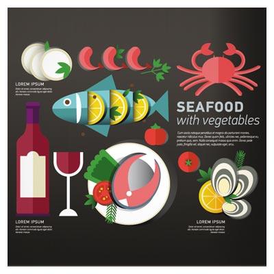 دانلود و خرید بنر وکتوری لایه باز با موضوع خوراکی های دریایی یا seafood