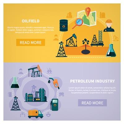 طرح بنر لایه باز وکتوری با موضوع اکتشافات نفتی و صنعتی (معدن) با فرمت های eps و ai