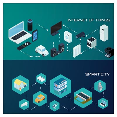 دانلود طرح لایه باز با موضوع شهر دیجیتال و اینترنت اشیا با دو فرمت eps و ai