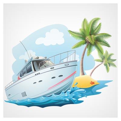 وکتور کارتونی کشتی کروز در کنار ساحل مواج (لایه باز با دو  فرمت ai و eps)