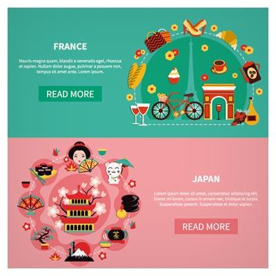 دانلود وکتور لایه باز با موضوع معرفی کشورهای ژاپن و فرانسه