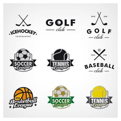 وکتور لایه باز مجموعه لوگوی ورزش های توپی (لوگوی فوتبال ، بسکتبال ، تنیس ، بیسبال ، گلف و بدمینتون)