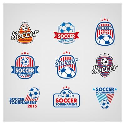 مجموعه متنوع از لوگوهای آماده با توپ فوتبال (لوگوهای وکتور توپ)