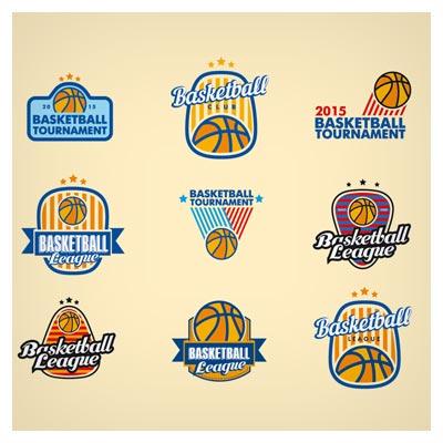 دانلود وکتور مجموعه 9 لوگوی آماده لایه باز با توپ بسکتبال (ورزش بسکتبال)