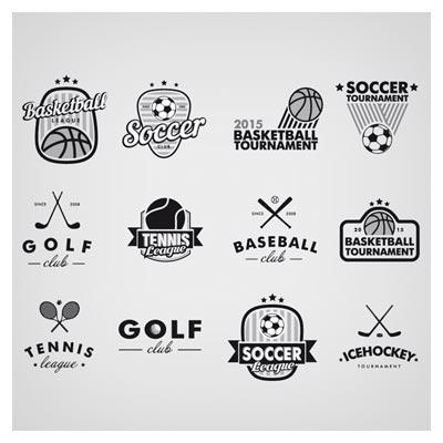 دانلود مجموعه لوگوهای آماده تکرنگ با موضوع ورزش های توپ دار