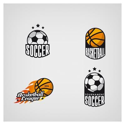 دانلود مجموعه 4 لوگو با نمادهای توپ فوتبال و بسکتبال (لوگوهای وکتوری آماده ورزشی)