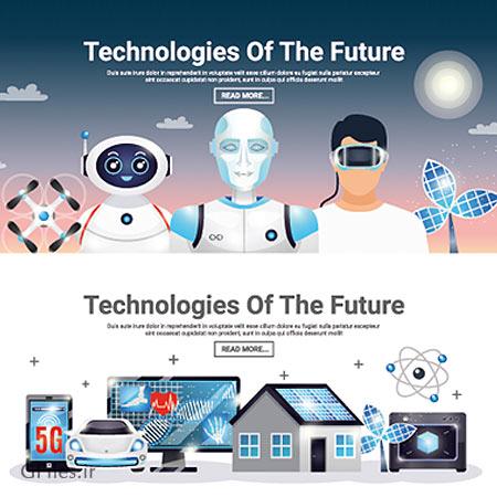 وکتور بنر لایه باز با موضوع تکنولوژی های آینده و خانه های هوشمند