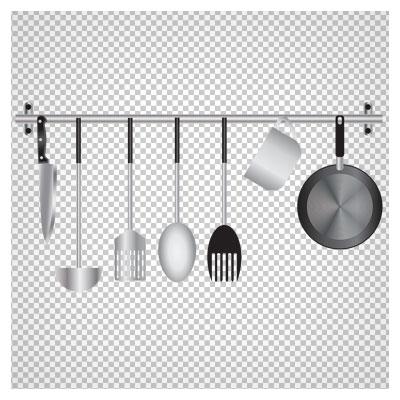 فایل png مجموعه ابزارهای آشپزخانه و آشپزی شامل کارد ، کف گیر ، ملاقه و ...