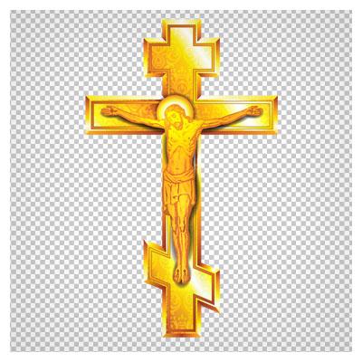 فایل png بدون بکگراند صلیب طلایی مسیح با کیفیت بالا
