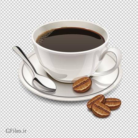 دانلود فایل png فنجان و دانه های قهوه با کیفیت بالا و دوربری شده