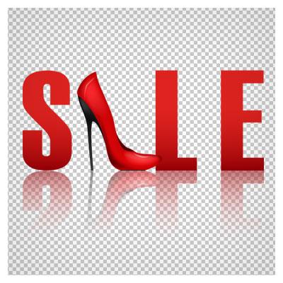 دانلود لوگوتایپ Sale برای فروش کفش زنانه با فرمت png و رنگ قرمز