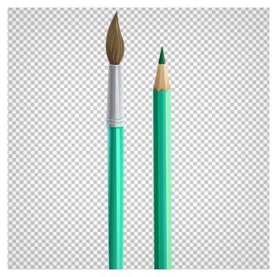 فایل png ترانسپرنت مداد رنگی سبز و قلم مو با کیفیت بالا و بدون بکگراند