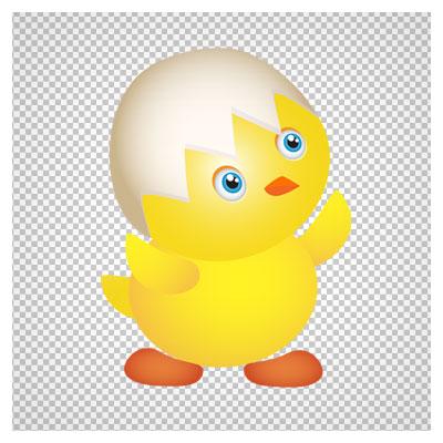 فایل کارتونی جوجه کوچولوی زرد با فرمت png ترانسپرنت