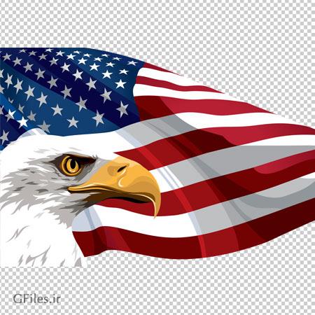 تصویر دوربری شده پرچم آمریکا و نشان عقاب با فرمت png و کیفیت بالا
