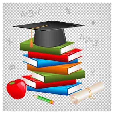 تصویر دوربری شده المان های مرتبط با مدرسه و تحصیل شامل کتاب ، کلاه فارغ التحصیلی ، مداد و ...