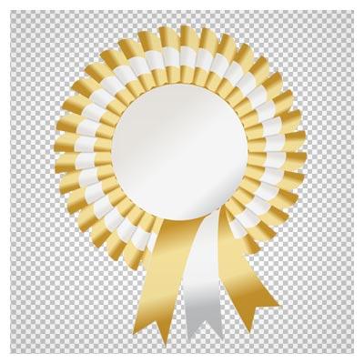 فایل دوربری شده (png) از مدال روبان دار زرد با کیفیت بالا و بدون بکگراند (ترانسپرنت)