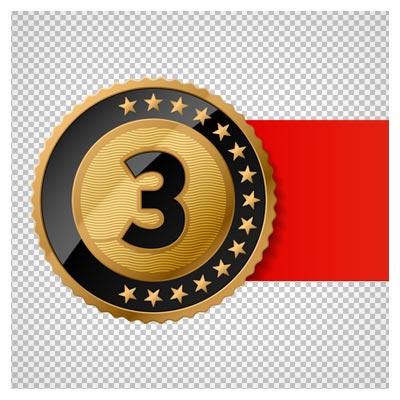 دانلود فایل ترانسپرنت و فاقد پس زمینه مدال برنز (مدال نفر سوم) با ربان قرمز با پسوند png
