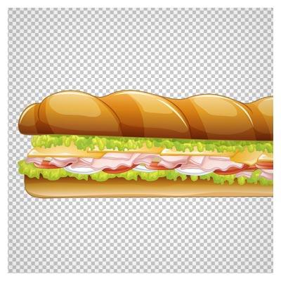 دانلود فایل دوربری شده و فاقد پس زمینه ساندویچ کالباس کارتونی با پسوند png