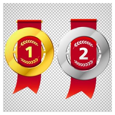 دانلود فایل ترانسپرنت ودوربری شده (مدالها )مدالهالی طلا ، نقره ، برنز با ربان قرمز با پسوند png