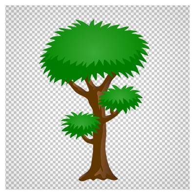 دانلود فایل ترانسپرنت و دوربری شده درخت سبز مطبق جنگلی کارتونی با پسوند png
