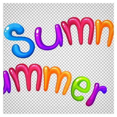 دانلود فایل ترانسپرنت و دوربری شده لوگو Summer (تابستان) رنگی با فرمت png