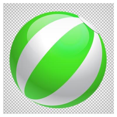 دانلود فایل ترانسپرنت و دوربری شده توپ بادی دو رنگ (سبز و سفید) کارتونی با فرمت png