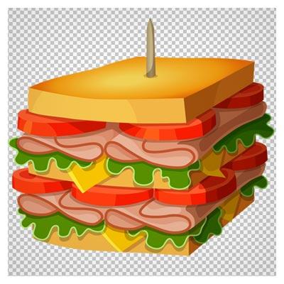 دانلود فایل ترانسپرنت و دوربریده شده ساندویچ کالباس دو طبقه کارتونی با فرمت png