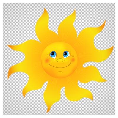 دانلود فایل ترانسپرنت و دوربریده شده خورشید زرد کارتونی با فرمت png