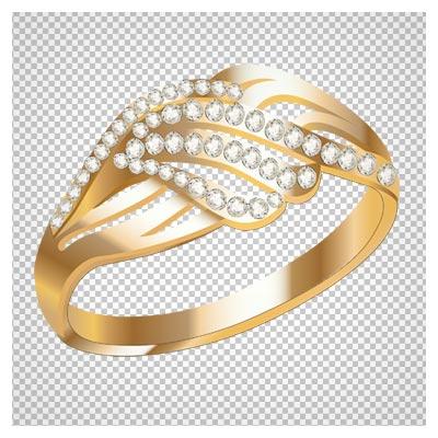 دانلود تصویر دوربری شده و فاقد بکگراند حلقه و انگشتر نگین دار طلایی به صورت فایل png