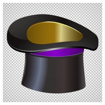 دانلود تصویر دوربری شده و فاقد بکگرند کلاه شعبده بازی سیاه به صورت فایل png با کیفیت بالا