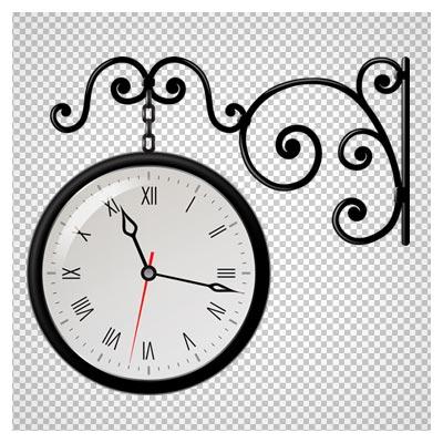دانلود فایل ترانسپرنت و دوربری شده ساعت دیواری آویزان سیاه با فرمت png