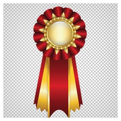 دانلود فایل ترانسپرنت و دوربری شده مدال با ربان قرمز و طلایی با فرمت png